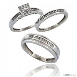 14k White Gold 3-Piece Trio His (6mm) & Hers (2.5mm) Diamond Wedding Band Set, w/ 0.33 Carat Brilliant Cut -Style Ljw201w3