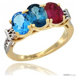 10K Yellow Gold Natural Swiss Blue Topaz, London Blue Topaz & Ruby Ring 3-Stone Oval 7x5 mm Diamond Accent