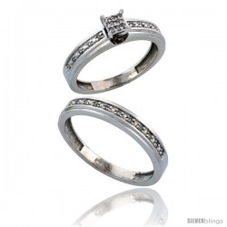14k White Gold 2-Piece Diamond Ring Set ( Engagement Ring & Man's Wedding Band ), w/ 0.21 Carat Brilliant Cut -Style Ljw202em