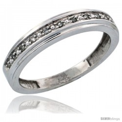 14k White Gold Ladies' Diamond Band, w/ 0.08 Carat Brilliant Cut Diamonds, 5/32 in. (4mm) wide -Style Ljw202lb