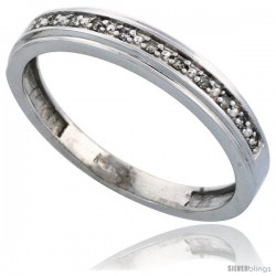 14k White Gold Men's Diamond Band, w/ 0.08 Carat Brilliant Cut Diamonds, 5/32 in. (4mm) wide -Style Ljw202mb