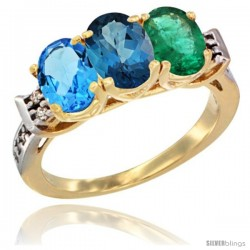 10K Yellow Gold Natural Swiss Blue Topaz, London Blue Topaz & Emerald Ring 3-Stone Oval 7x5 mm Diamond Accent