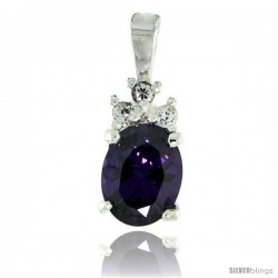 Sterling Silver Oval-shaped February Birthstone CZ Pendant, w/ 9x7mm Oval Cut Amethyst-colored Stone & Brilliant Cut Clear