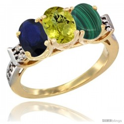 10K Yellow Gold Natural Blue Sapphire, Lemon Quartz & Malachite Ring 3-Stone Oval 7x5 mm Diamond Accent