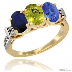 10K Yellow Gold Natural Blue Sapphire, Lemon Quartz & Tanzanite Ring 3-Stone Oval 7x5 mm Diamond Accent