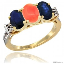 10K Yellow Gold Natural Coral & Blue Sapphire Sides Ring 3-Stone Oval 7x5 mm Diamond Accent