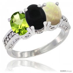 10K White Gold Natural Peridot, Black Onyx & Opal Ring 3-Stone Oval 7x5 mm Diamond Accent