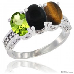 10K White Gold Natural Peridot, Black Onyx & Tiger Eye Ring 3-Stone Oval 7x5 mm Diamond Accent