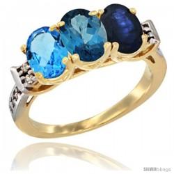 10K Yellow Gold Natural Swiss Blue Topaz, London Blue Topaz & Blue Sapphire Ring 3-Stone Oval 7x5 mm Diamond Accent