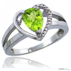 10K White Gold Natural Peridot Ring Heart-shape 5 mm Stone Diamond Accent