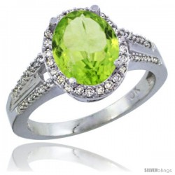 10K White Gold Natural Peridot Ring Oval 10x8 Stone Diamond Accent