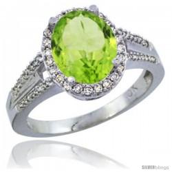 10K White Gold Natural Peridot Ring Oval 10x8 Stone Diamond Accent