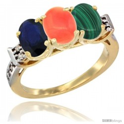 10K Yellow Gold Natural Blue Sapphire, Coral & Malachite Ring 3-Stone Oval 7x5 mm Diamond Accent