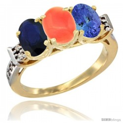 10K Yellow Gold Natural Blue Sapphire, Coral & Tanzanite Ring 3-Stone Oval 7x5 mm Diamond Accent