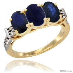 10K Yellow Gold Natural Lapis & Blue Sapphire Sides Ring 3-Stone Oval 7x5 mm Diamond Accent