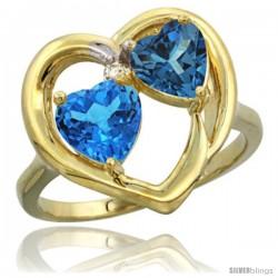 10k Yellow Gold 2-Stone Heart Ring 6mm Natural Swiss Blue & London Blue Topaz