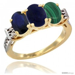 10K Yellow Gold Natural Blue Sapphire, Lapis & Malachite Ring 3-Stone Oval 7x5 mm Diamond Accent