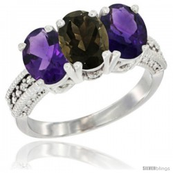14K White Gold Natural Smoky Topaz & Amethyst Ring 3-Stone 7x5 mm Oval Diamond Accent