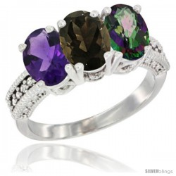 14K White Gold Natural Amethyst, Smoky Topaz & Mystic Topaz Ring 3-Stone 7x5 mm Oval Diamond Accent
