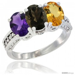 14K White Gold Natural Amethyst, Smoky Topaz & Citrine Ring 3-Stone 7x5 mm Oval Diamond Accent