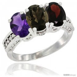 14K White Gold Natural Amethyst, Smoky Topaz & Garnet Ring 3-Stone 7x5 mm Oval Diamond Accent