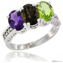 14K White Gold Natural Amethyst, Smoky Topaz & Peridot Ring 3-Stone 7x5 mm Oval Diamond Accent