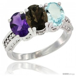 14K White Gold Natural Amethyst, Smoky Topaz & Aquamarine Ring 3-Stone 7x5 mm Oval Diamond Accent