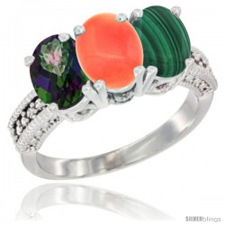 14K White Gold Natural Mystic Topaz, Coral & Malachite Ring 3-Stone 7x5 mm Oval Diamond Accent