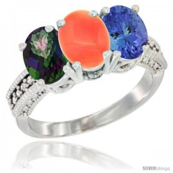 14K White Gold Natural Mystic Topaz, Coral & Tanzanite Ring 3-Stone 7x5 mm Oval Diamond Accent
