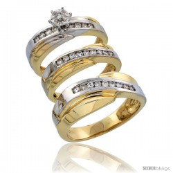 14k Gold 3-Piece Trio His (8mm) & Hers (5mm) Diamond Wedding Band Set w/ Rhodium Accent, w/ 0.52 Carat Brilliant Cut Diamonds