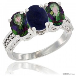 14K White Gold Natural Lapis & Mystic Topaz Sides Ring 3-Stone 7x5 mm Oval Diamond Accent