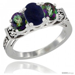 14K White Gold Natural Lapis & Mystic Topaz Ring 3-Stone Oval with Diamond Accent