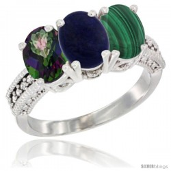 14K White Gold Natural Mystic Topaz, Lapis & Malachite Ring 3-Stone 7x5 mm Oval Diamond Accent