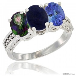 14K White Gold Natural Mystic Topaz, Lapis & Tanzanite Ring 3-Stone 7x5 mm Oval Diamond Accent