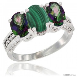 14K White Gold Natural Malachite & Mystic Topaz Sides Ring 3-Stone 7x5 mm Oval Diamond Accent