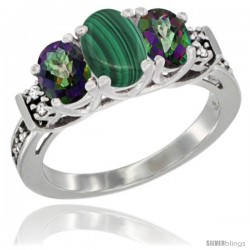 14K White Gold Natural Malachite & Mystic Topaz Ring 3-Stone Oval with Diamond Accent