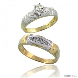 Gold Plated Sterling Silver 2-Piece Diamond Wedding Engagement Ring Set for Him & Her, 5mm & 6mm wide -Style Agy121em