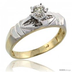 Gold Plated Sterling Silver Diamond Engagement Ring, 3/16 in wide -Style Agy121er
