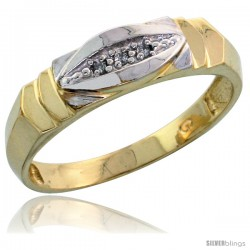 Gold Plated Sterling Silver Mens Diamond Wedding Band, 1/4 in wide -Style Agy121mb