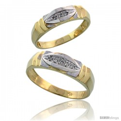 Gold Plated Sterling Silver Diamond 2 Piece Wedding Ring Set His 6mm & Hers 5mm -Style Agy121w2