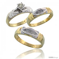 Gold Plated Sterling Silver Diamond Trio Wedding Ring Set His 6mm & Hers 5mm -Style Agy121w3