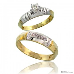 Gold Plated Sterling Silver 2-Piece Diamond Wedding Engagement Ring Set for Him & Her, 4mm & 5.5mm wide
