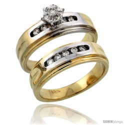 14k Gold 2-Piece Diamond Engagement Ring Set w/ Rhodium Accent, w/ 0.23 Carat Brilliant Cut Diamonds, 1/4 in. (6mm) wide