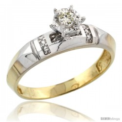 Gold Plated Sterling Silver Diamond Engagement Ring, 5/32 in wide -Style Agy122er