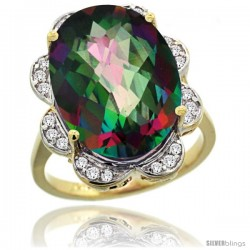 14k Gold Natural Mystic Topaz Ring 18x13 mm Oval Shape Diamond Halo, 3/4inch wide