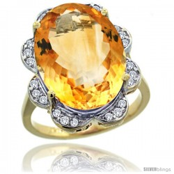 14k Gold Natural Citrine Ring 18x13 mm Oval Shape Diamond Halo, 3/4inch wide