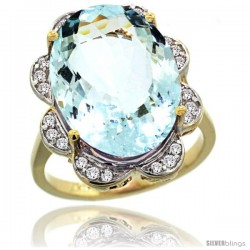 14k Gold Natural Aquamarine Ring 18x13 mm Oval Shape Diamond Halo, 3/4inch wide