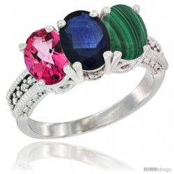 10K White Gold Natural Pink Topaz, Blue Sapphire & Malachite Ring 3-Stone Oval 7x5 mm Diamond Accent