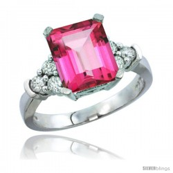 10K White Gold Natural Pink Topaz Ring Emerald-shape 9x7 Stone Diamond Accent