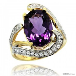 14k Gold Natural Amethyst Ring Oval 14x10 Diamond Accent, 3/4 in wide